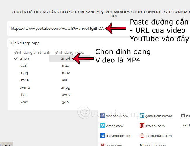 Copy paste url của video youtube