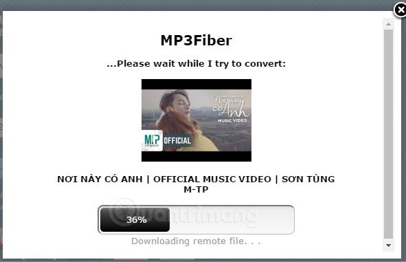 Chờ MP3Fibber tách nhạc từ YouTube