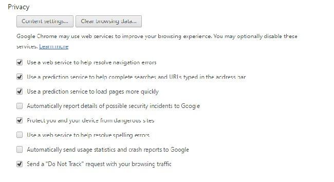 Tùy chọn Privacy của Google