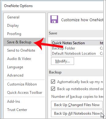 Nhấn chọn mục Save & Backup