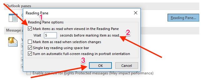 Thay đổi thiết lập đánh dấu email đã đọc Outlook