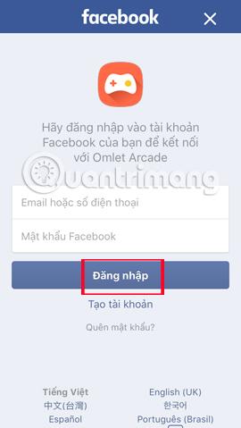 Nhập thông tin tài khoản Facebook