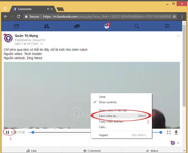 Ấn xem video, chuột phải lên video chọn Save video as...