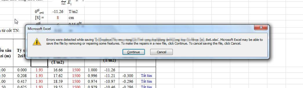 Thông báo lỗi khi save file Excel