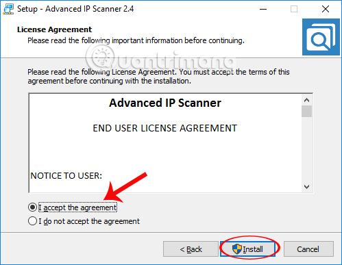 Các điều khoản cài đặt Advanced IP Scanner