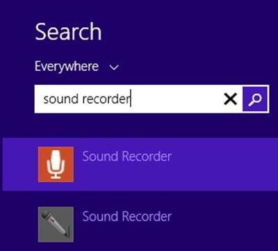 Mở Sound Recorder trên Windows 8 hoặc 8.1