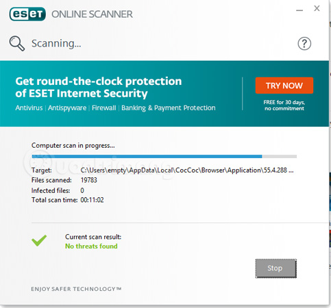 Giao diện của ESET Online Scanner