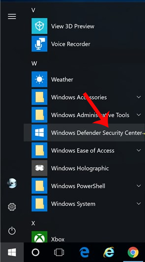 Nhấn chọn Windows Defender Security Center