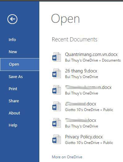 Menu File của Word Online