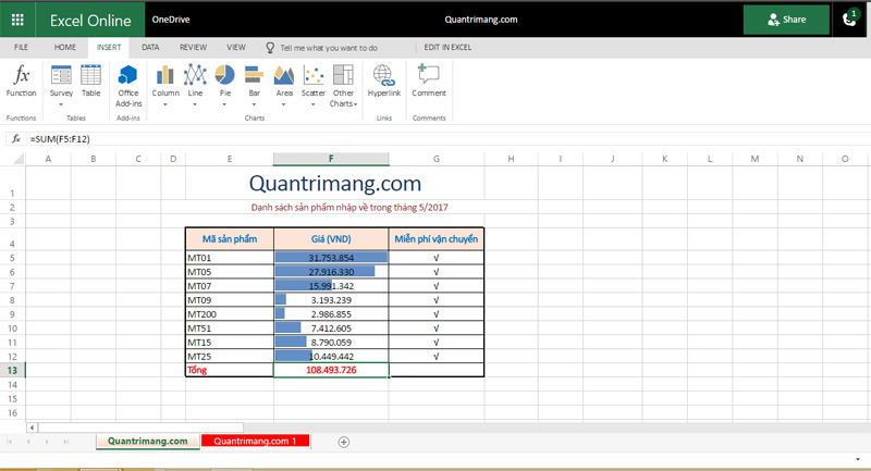 Giao diện Excel Online