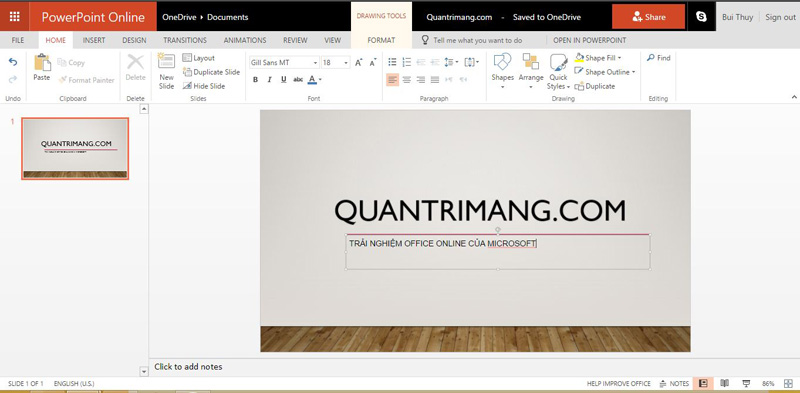 Giao diện PowerPoint Online