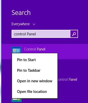 Mở Control Panel trên Windows 8/8.1