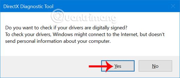 Thông báo từ DirectX Diagnostic Tool