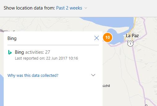 Theo dõi địa điểm trên Bing