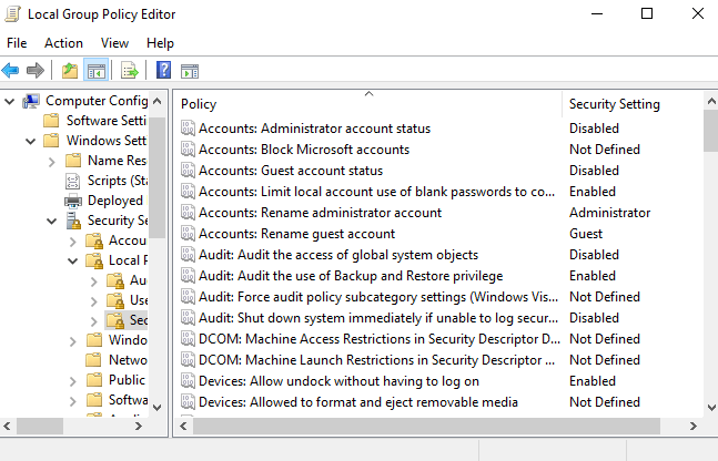 Giao diện của Local Group Policy Editor