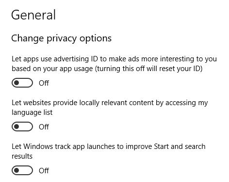 Tắt tùy chọn Privacy trên Windows 10