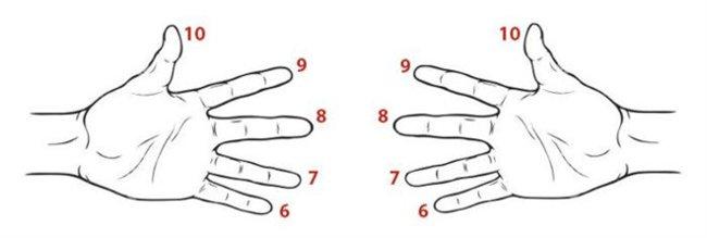 Nhân các số 6, 7, 8, 9 bằng cách sử dụng ngón tay