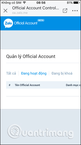 Tạo Official Account