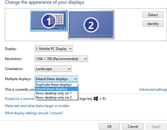 Chọn chế độ hiển thị của các màn hình