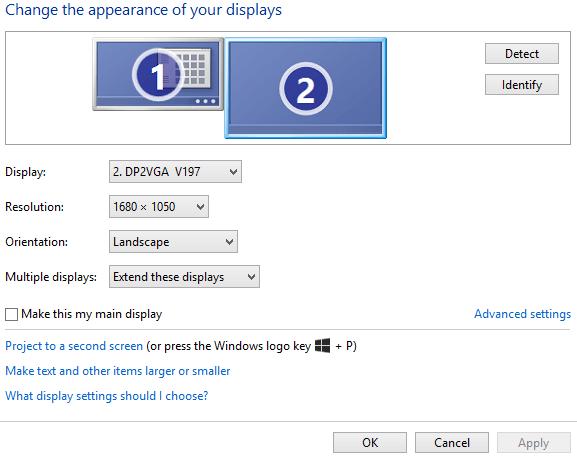 Chọn màn hình chính khi dùng nhiều máy tính
