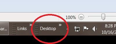 Menu Desktop trên thanh taskbar