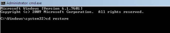 Nhập lệnh cd restore trong Command Prompt