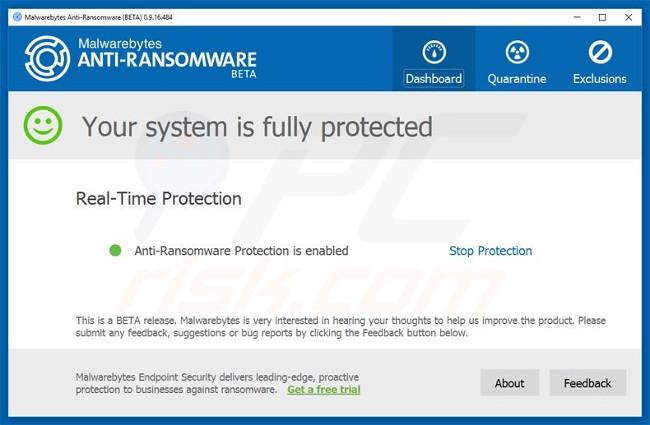 Phần mềm Malwarebytes Anti-Ransomware Beta