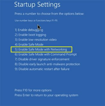 Bật chế độ Safe Mode with Networking trong Windows 10