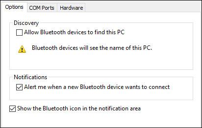 Cửa sổ cài đặt Bluetooth nâng cao