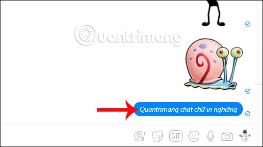 Chat chữ in nghiêng Messenger
