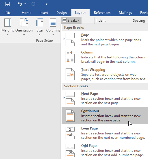 how to insert page break in word 2016