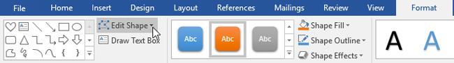 Nhấp chọn lệnh Edit Shape trong tab Format