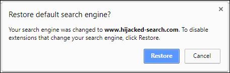 Cảnh báo khôi phục lại cài đặt từ Chrome