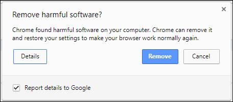 Thông báo của Chrome khi phát hiện phần mềm độc hại