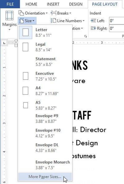 Chọn More Paper Sizes từ menu thả xuống.