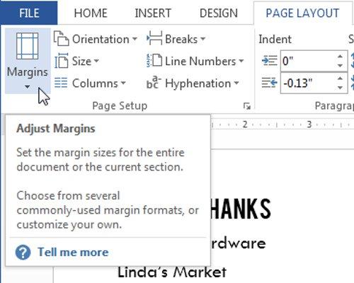 Chọn tab Page Layout, sau đó nhấp vào lệnh Margins.