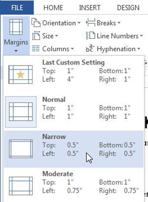 Nhấp vàoPredefined margin size