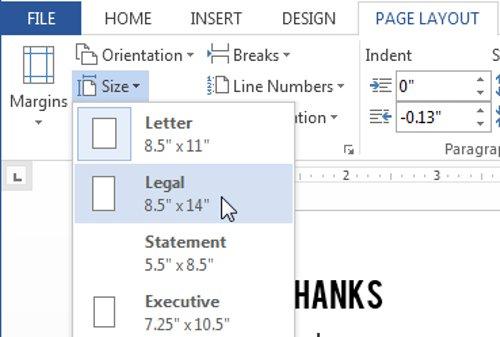 Nhấp vào kích thước lề được xác định trướcđể lựa chọn khổ giấy có sẵn phù hợp với tài liệu của bạn.