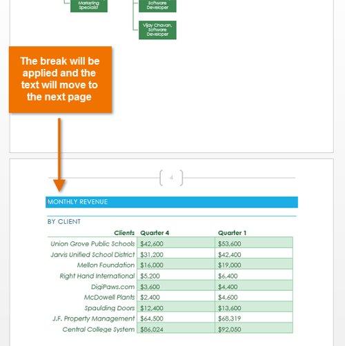 Trong ví dụ, biểu đồ sẽ chuyển đến trang tiếp theo.