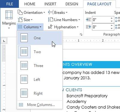 Văn bản trước và sau khi section break có thể được định dạng riêng