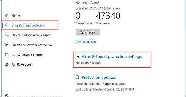Thiết lập bảo vệ trước virus và các hiểm họa