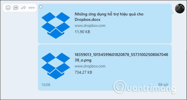 Mở dữ liệu Dropbox gửi trên Zalo