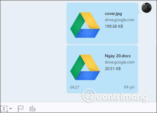 Dữ liệu gửi từ Google Drive trên Zalo PC