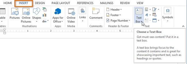Chọn tab Insert, sau đó nhấp vào lệnh Text Box trong nhóm Text.