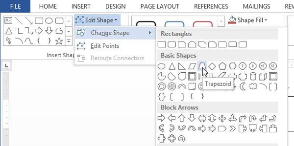 Di chuột qua Change Shape, sau đó chọn hình dạng mong muốn từ trình đơn xuất hiện.