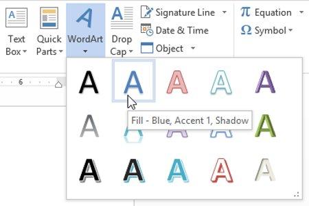Nhấp vào mũi tên thả xuống WordArt trong nhóm Text.