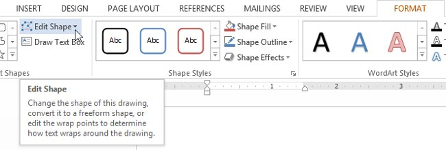 Từ tab Format, bấm vào lệnh Edit Shape.