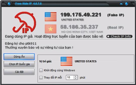 Free Hide IP ẩn địa chỉ IP