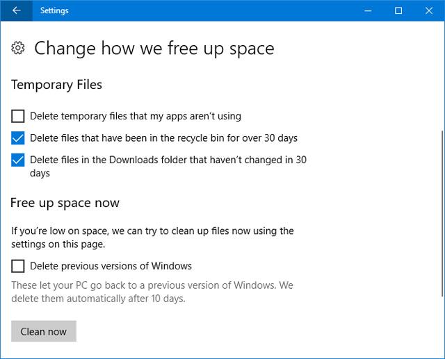 Storage Sense trong bản cập nhật Fall Creators Update