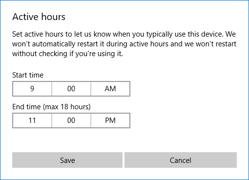 Tính năng Active hours trong Windows Update